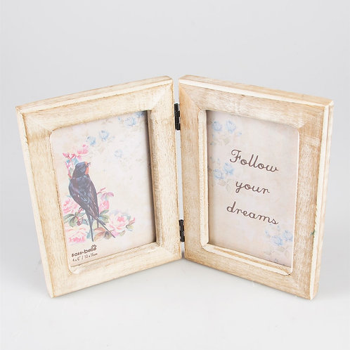 Double Rustic Wood Photo Frame