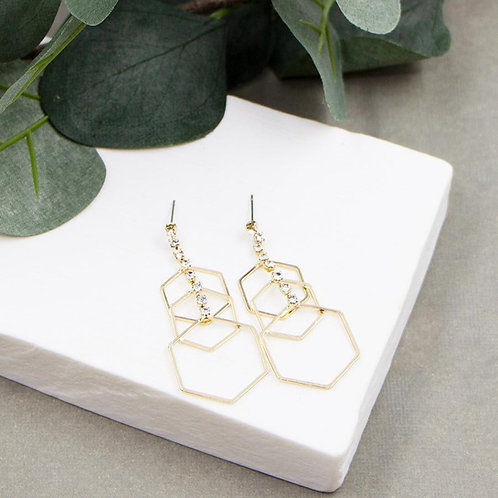 Triple Hexagon with Crystal Drop Earrings - gold
