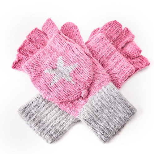 Wool Mix Fingerless Glove /Mitten - Pink
