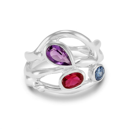 Sterling Silver Multi Coloured Stones Ring - O