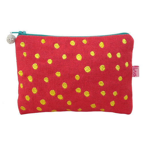 Embroidered Dots Cosmetic Purse - Coral