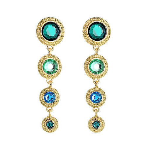 Disk earring in gold with greens