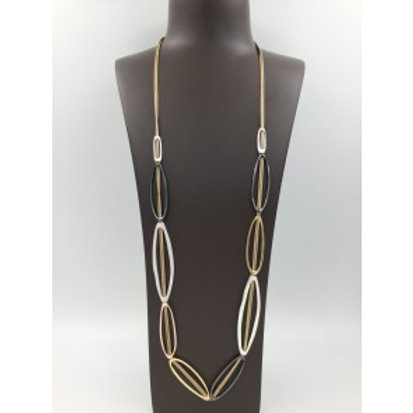 Long waxed cord necklace with three colour ovals