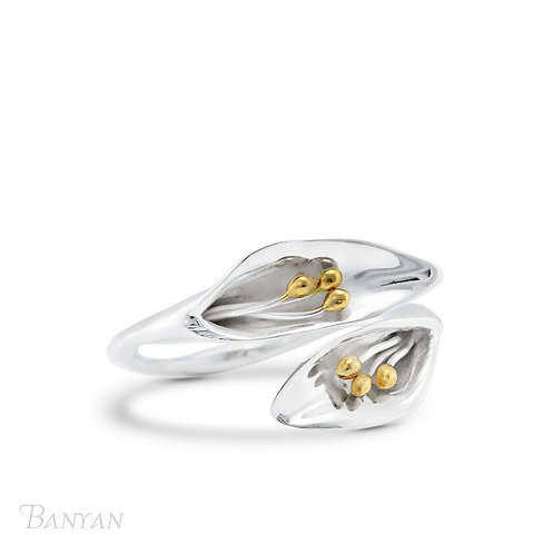 Adjustable Silver Lily Ring - R