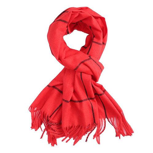Super soft line print scarf - Red