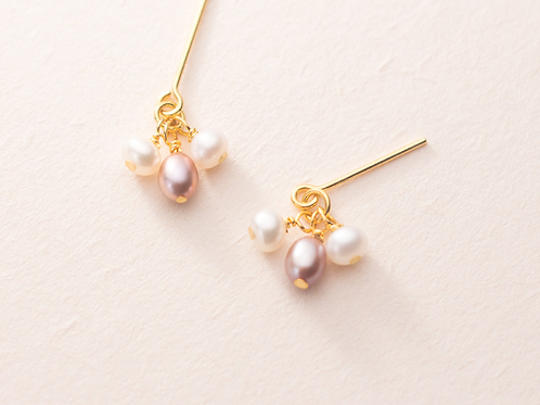 Sterling Silver Gold Plated Tripple Pearl Drop Earring