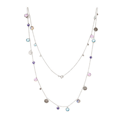 Sterling Silver Sequin Gemstone Long Necklace