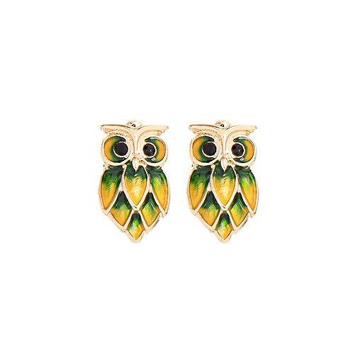 Gold Owl Stud Earring - Green and yellow