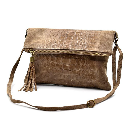 Italian leather crock effect clutch cross body - Mocca