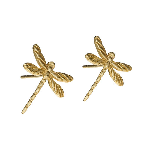 Dragonfly Stud Earrings 14k gold plated Sterling Silver