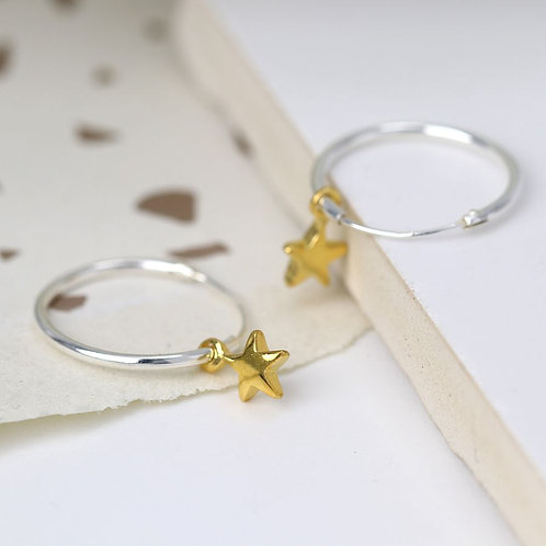 Sterling silver hoop earrings with gold stars