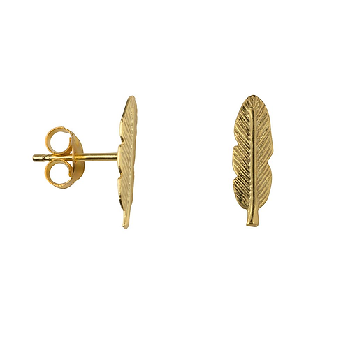 Feather Sterling Silver with Gold Plating Stud