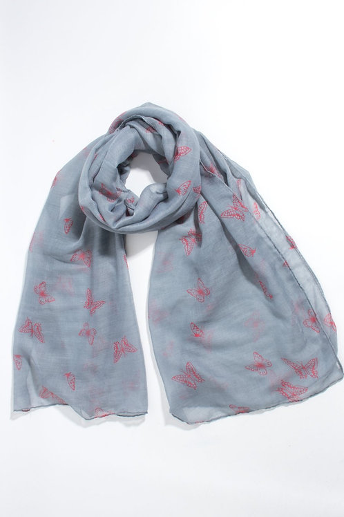 butterfly scatter print  Scarf - Grey