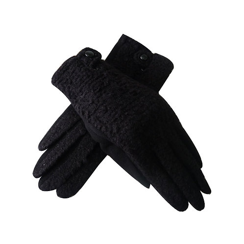 Amie teddy fur gloves - black