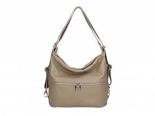 Two in One Shoulder Backpack Bag - Dark Taupe Italian Leather
