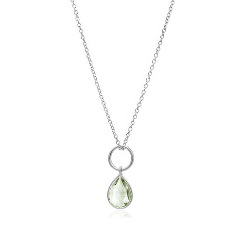 Sterling Silver Gemstone Pendant Necklace - Green Amethyst