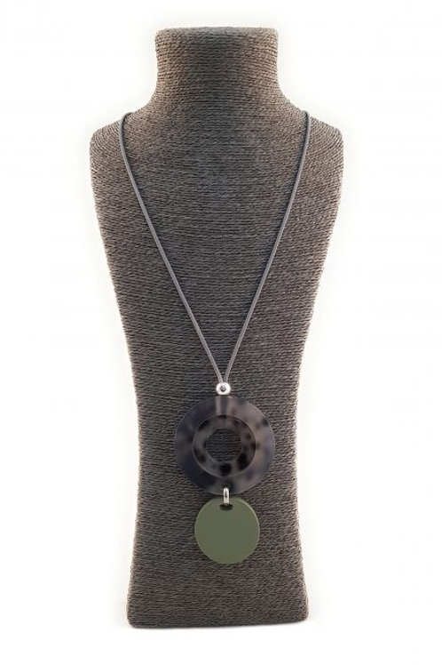 Long necklace with large sage green and tortoise shell style discs
