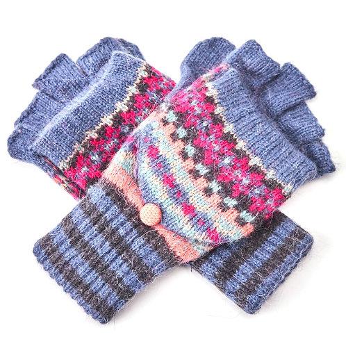 Checkerboard Wool Mix Fingerless Glove /Mitten -Blue