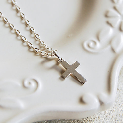 Sterling Silver Silver Cross Necklace (Small)