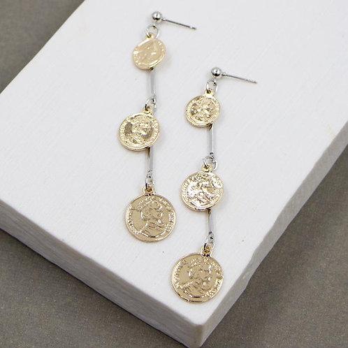 Two tone three coin dangle earrings