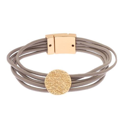 Magnetised multi strand bracelet with matt gold disk