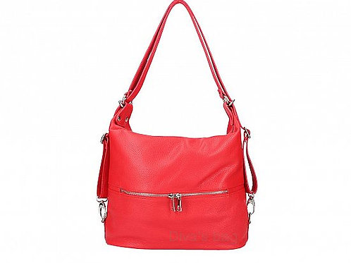 2 in 1 Shoulder & Backpack Italian Leather -Red