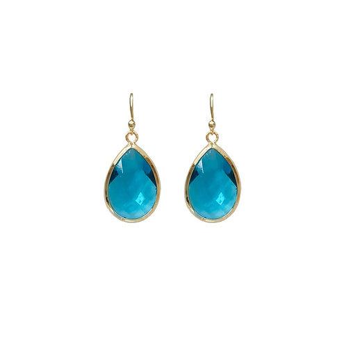 Teardrop gem earring -  turquoise