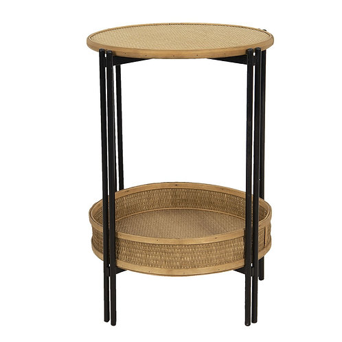 Wood Wicker Decorative Side Table