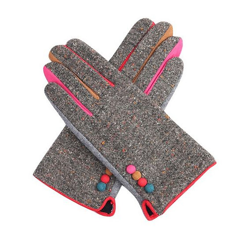 Tweed Wool Mix Gloves - Grey