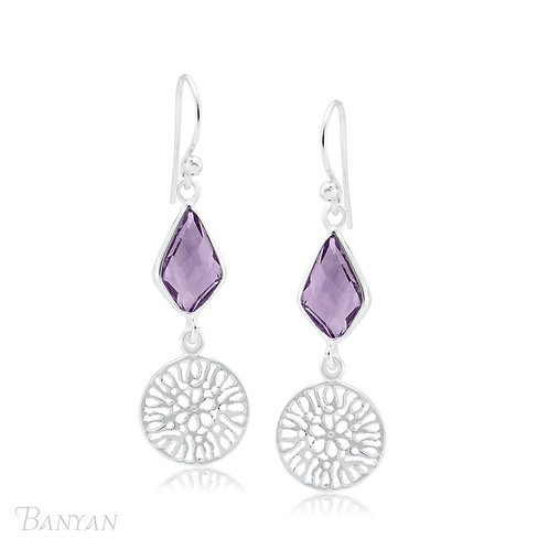 Amethyst Sterling Silver Earrings With Filigree Disc