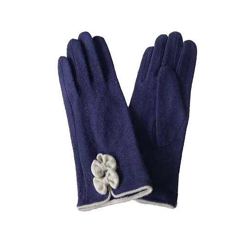 Wool Lillie bow cuff glove - Blue