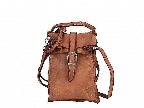 Cognac Small Buckle Crossbody Bag Italian Leather