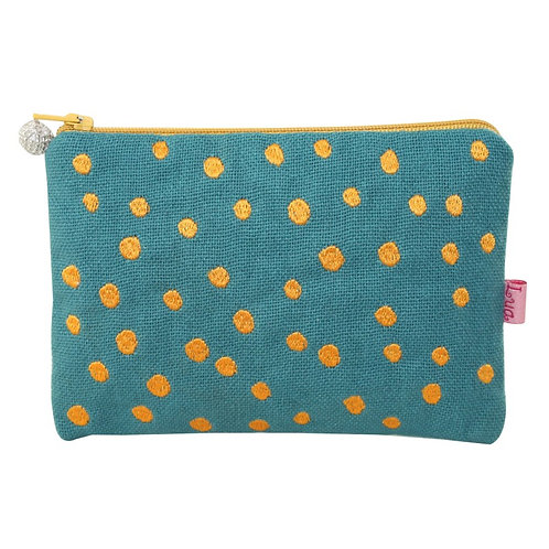 Embroidered Dots Cosmetic Purse - Teal