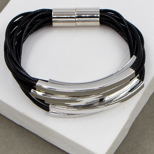 Multi strand wax cord tube bracelet magnetic clasp