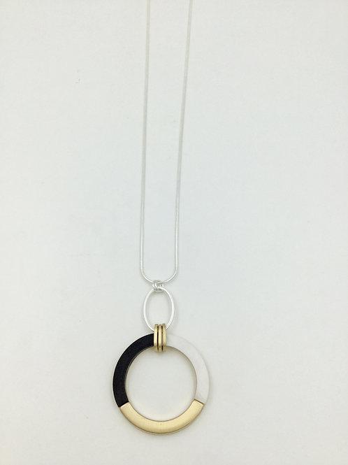 Long necklace art deco style circle -  gold black
