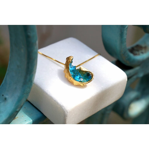 Gold Plated Sterling Silver Shell Gemstone Necklace with Blue Murano