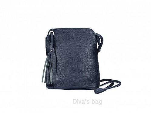 Navy Tassel Small Crossbody Bag - Italian Leather