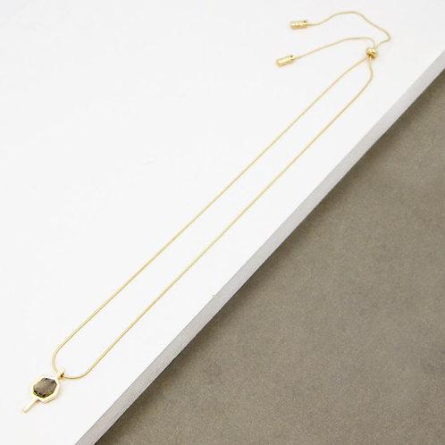 Geometric semi precious pendant long necklace - gold