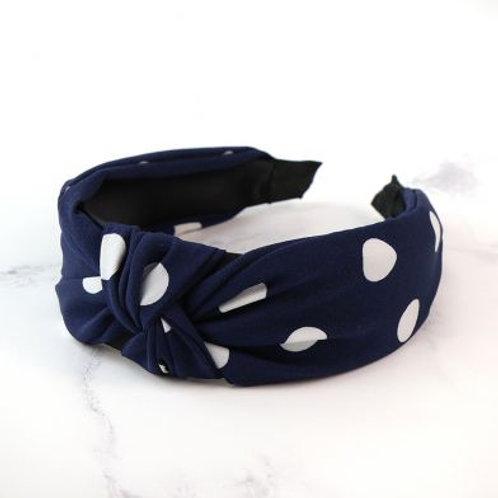 Headband - Navy and white spot