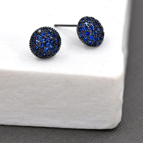 Oval shaped crystal encrusted stud earrings