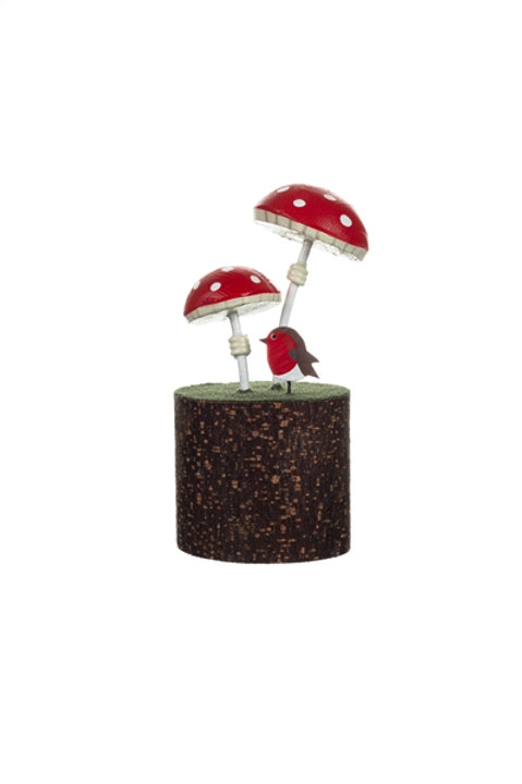 Toadstool on a Log Decoration