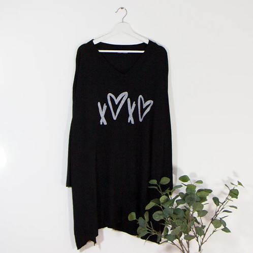 Fine knit free size jumper -Black