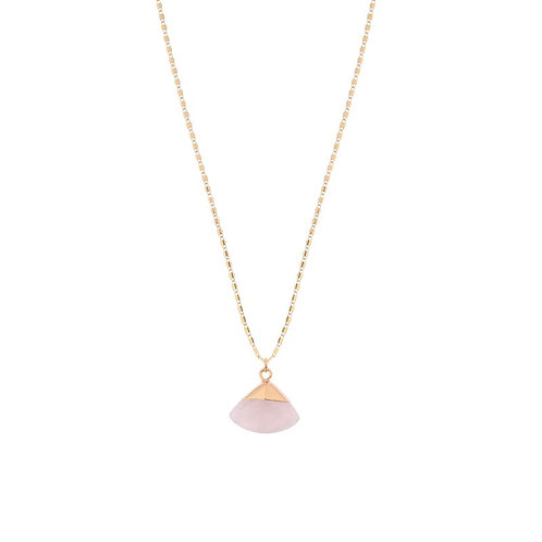 Pail pink fan shaped stone delicate pendant