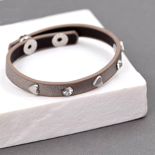 Heart and crystal leather bracelet -bronze