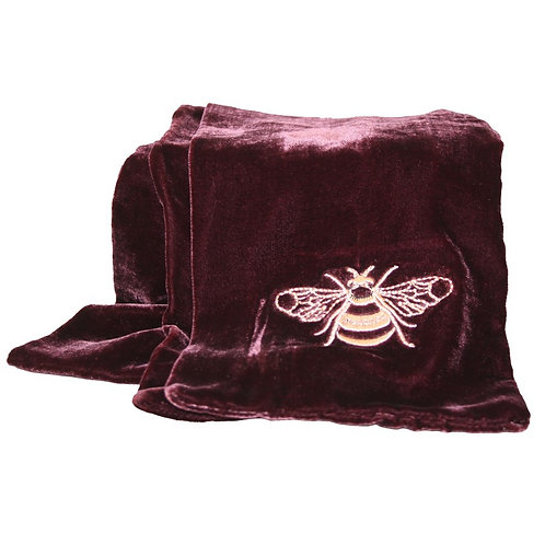 Embroidered Velvet Bee Scarf - Plum