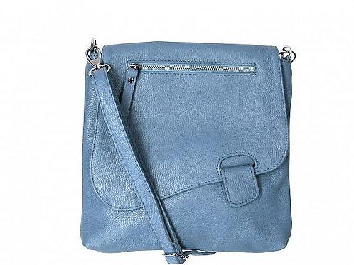 Blue Slim  Cross Body Bag -  Italian Leather