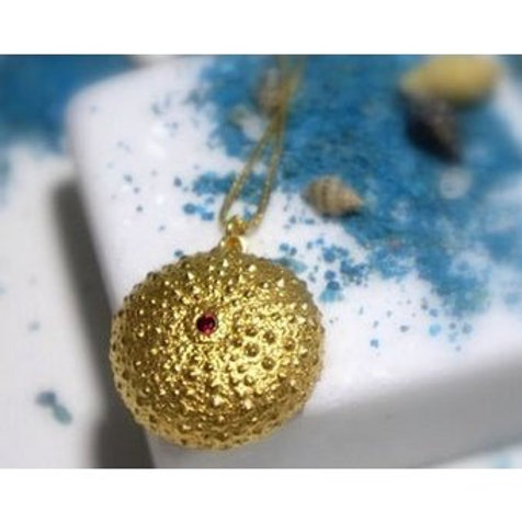Red Zirconia - Sea Urchin Pendant Sterling Silver and 14k Gold Plating