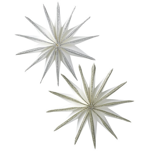 Paper Star With Glitter Edges Set of 2
