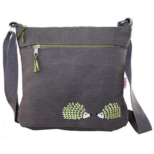 Embroidered Hedgehog Large Crossbody Bag - Taupe