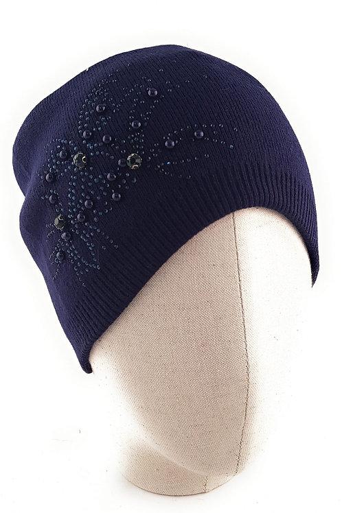 Floral Beaded Cashmere blend bobble hat - Navy